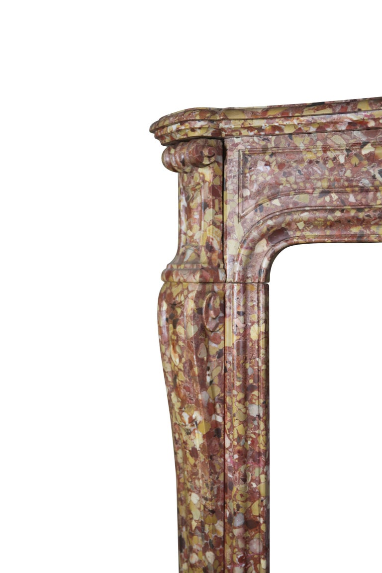 French Pompadour Antique Fireplace Surround in Breche d'aleppe Marble In Excellent Condition For Sale In Beervelde, BE