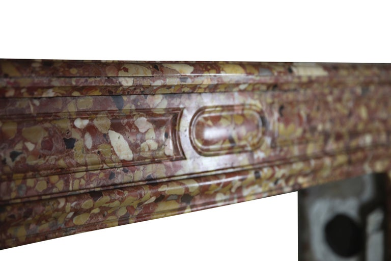 19th Century French Pompadour Antique Fireplace Surround in Breche d'aleppe Marble For Sale
