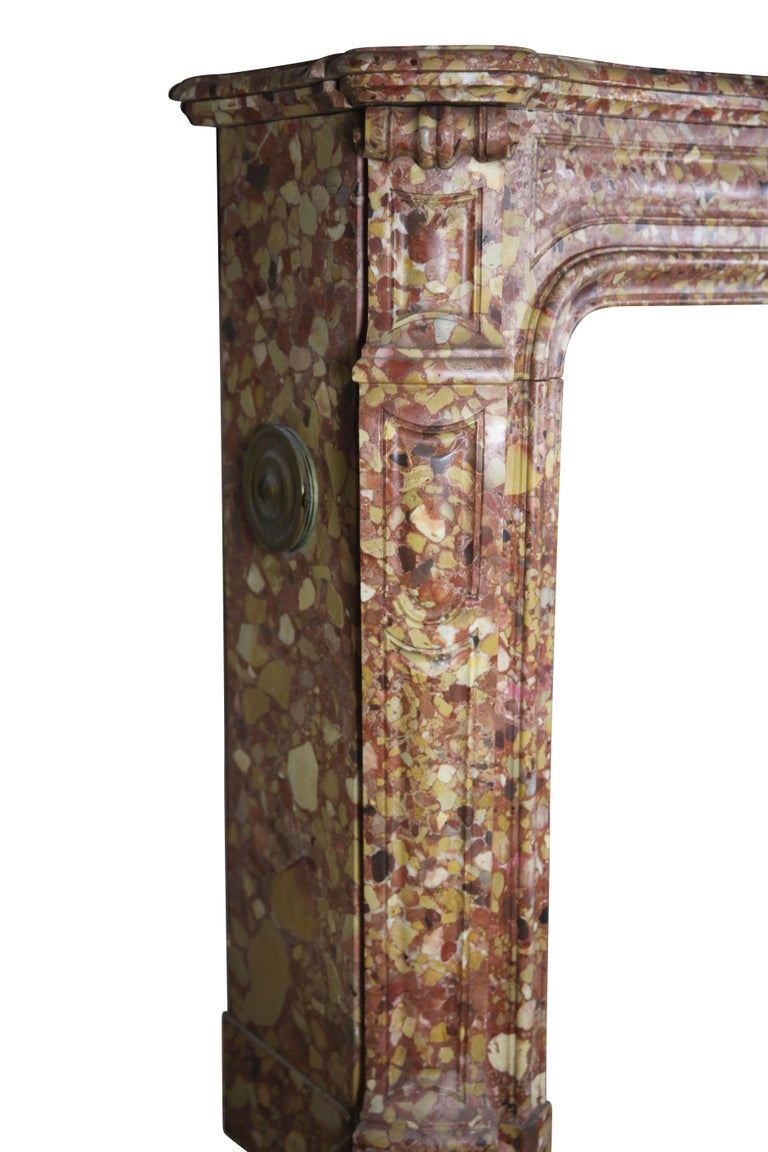 French Pompadour Antique Fireplace Surround in Breche d'aleppe Marble For Sale 2