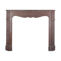 French Pompadour Style Vintage Fireplace Surround in Marble