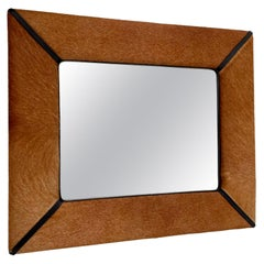 French Pony Hair and Leather Mirror