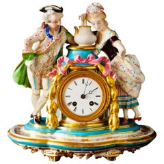 French Porcelain and Bisque Mantel Clock by Miroy Freres, Paris