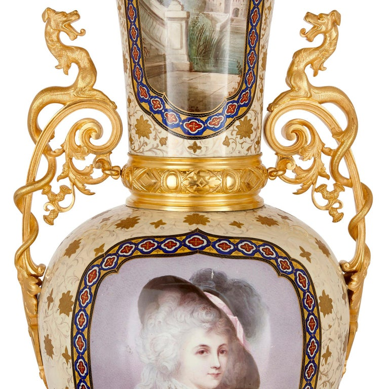 19th Century French Porcelain and Gilt Bronze Vases in the Chinoiserie Style For Sale