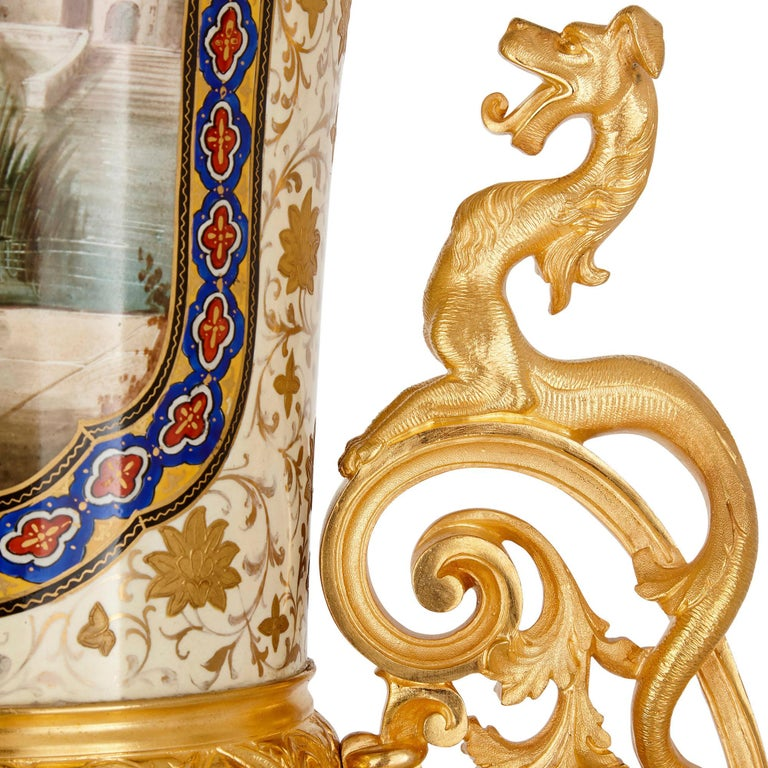 French Porcelain and Gilt Bronze Vases in the Chinoiserie Style For Sale 1