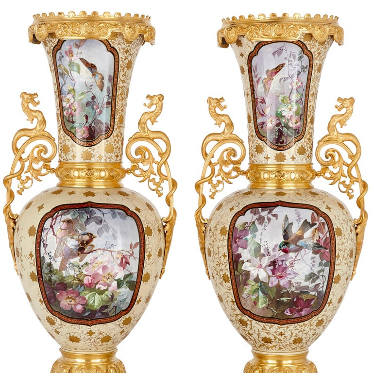 French Porcelain and Gilt Bronze Vases in the Chinoiserie Style For Sale 2