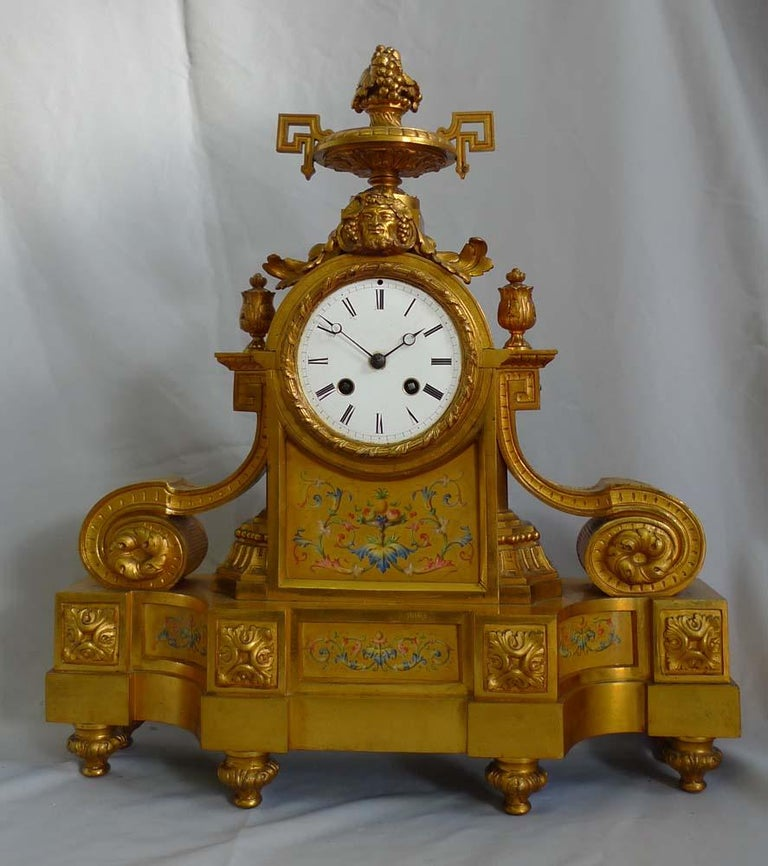 Napoleon III French Porcelain and Ormolu Mantel Clock Stamped in Bronze H. Picard For Sale