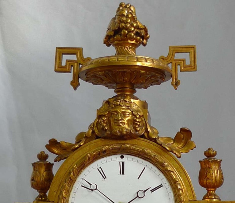 Painted French Porcelain and Ormolu Mantel Clock Stamped in Bronze H. Picard For Sale