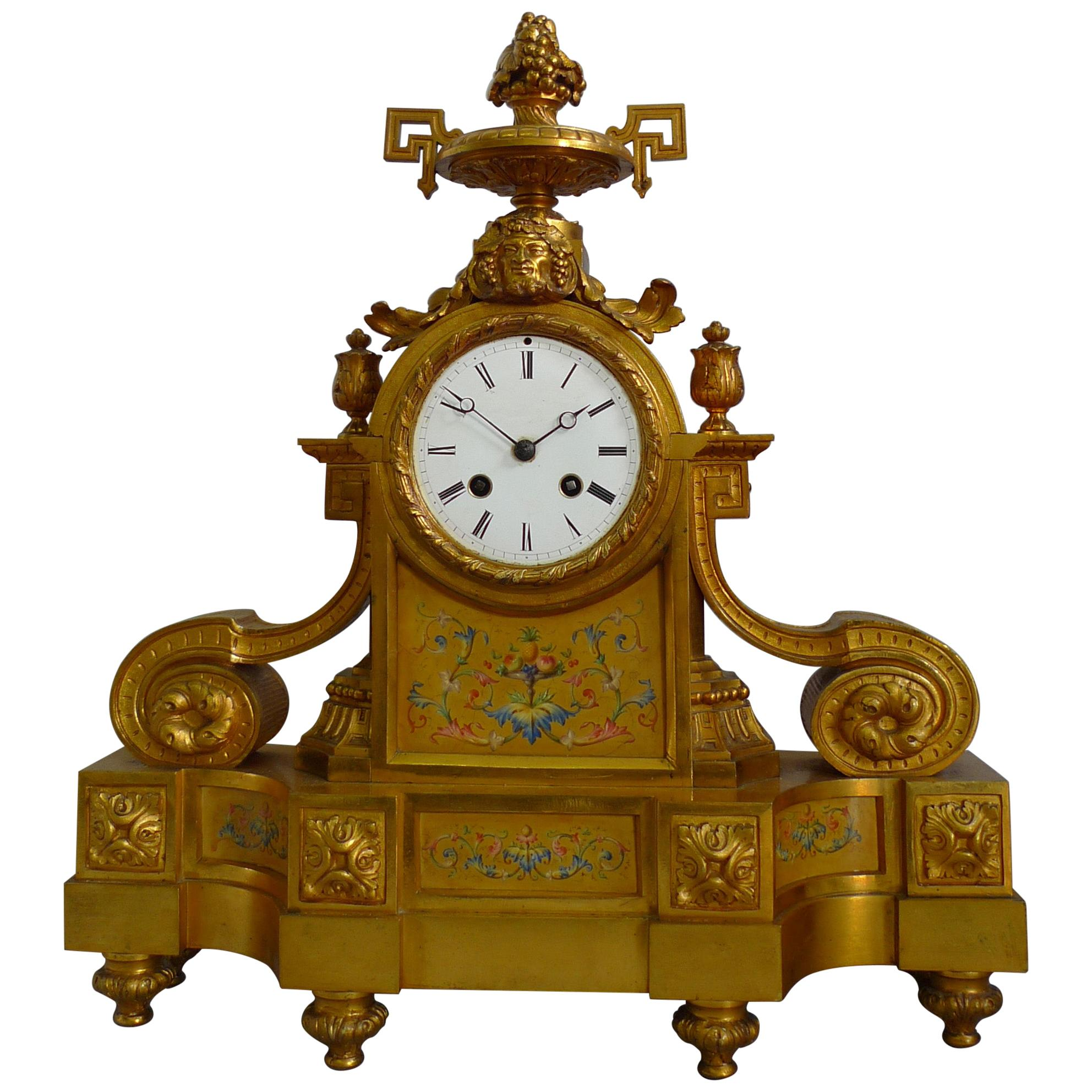 French Porcelain and Ormolu Mantel Clock Stamped in Bronze H. Picard