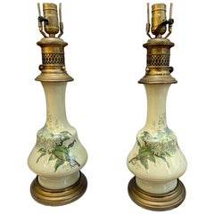 French Porcelain Celadon Table Lamps