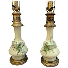 French Porcelain Celadon Table Lamps