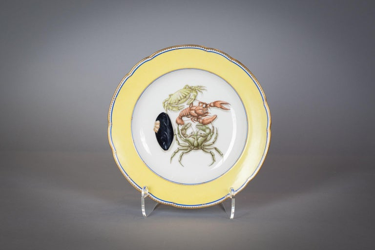 French Porcelain Dinner Plates and Soup Bowls, circa 1900 For Sale 6