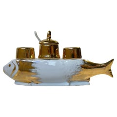 French Porcelain Fish Cruet Set with Salt, Pepper and Mustard, 1970s