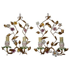 French Porcelain Flowers Sconces, circa 1920