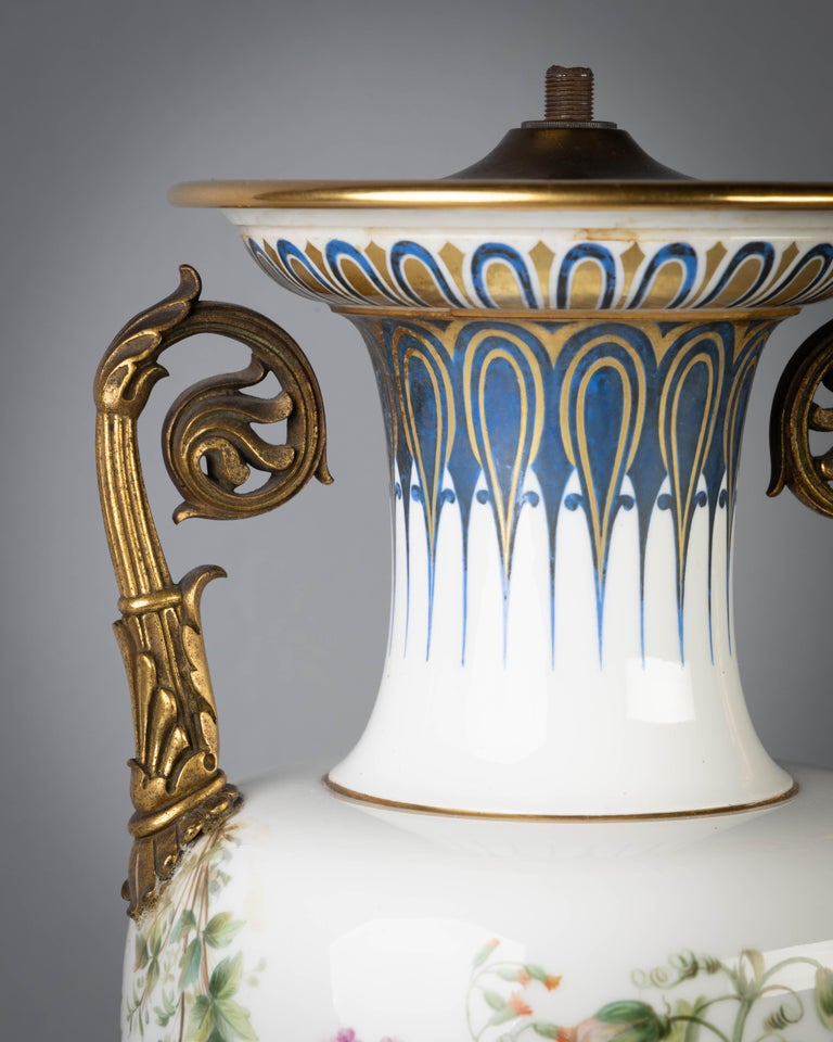 French Porcelain Gilt Bronze Mounted Sevres Vase, circa 1845 In Good Condition For Sale In New York, NY
