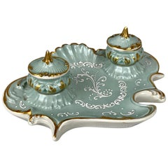 French Porcelain Inkstand with Pate-sur Pate enamel