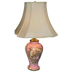 French Porcelain Lamp with Lovely Hand Painted Floral Bouquets
