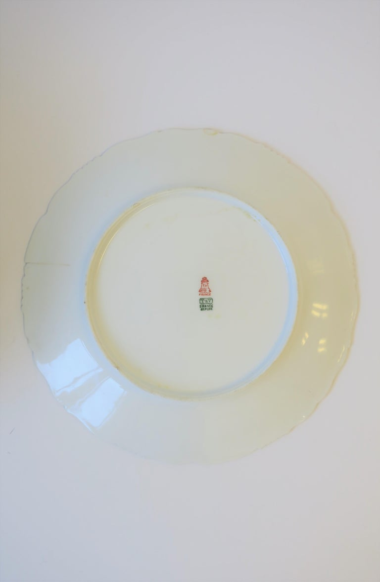 French Porcelain Limoges Plates with Fish and Boat Design For Sale 12
