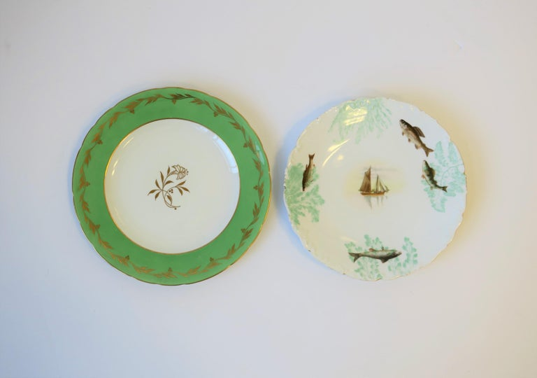 French Porcelain Limoges Plates with Fish and Boat Design For Sale 13