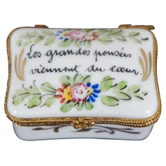 French Porcelain Limoges Trinket Keepsake Box Viennent du Coeur