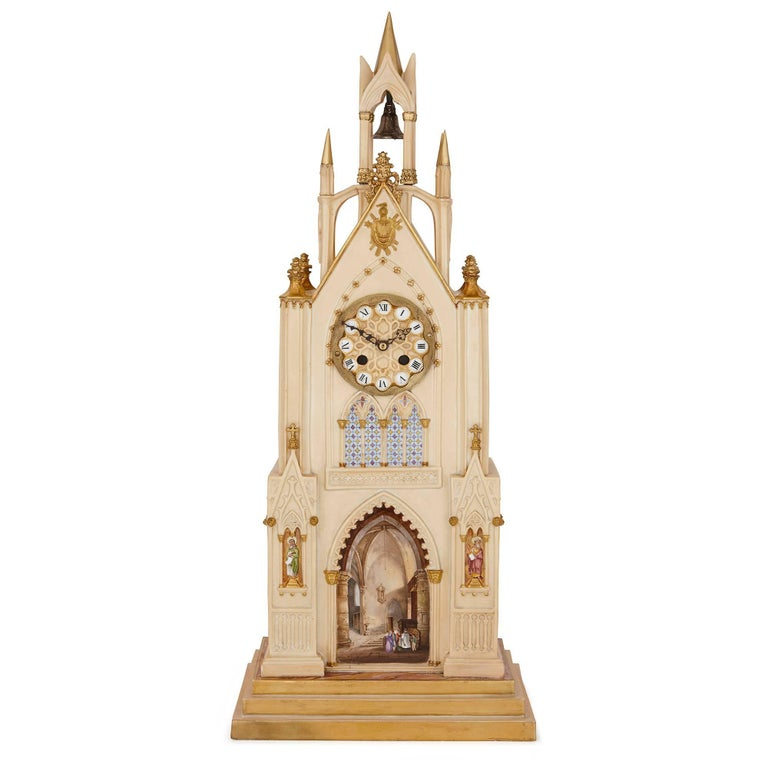 This beautiful Gothic Revival style porcelain clock was made by the prestigious French firm Dagoty and Honore, founded by the esteemed porcelain makers Pierre-Louis Dagoty and Edouard Honore. Dagoty and Honore's factory in Paris was highly regarded