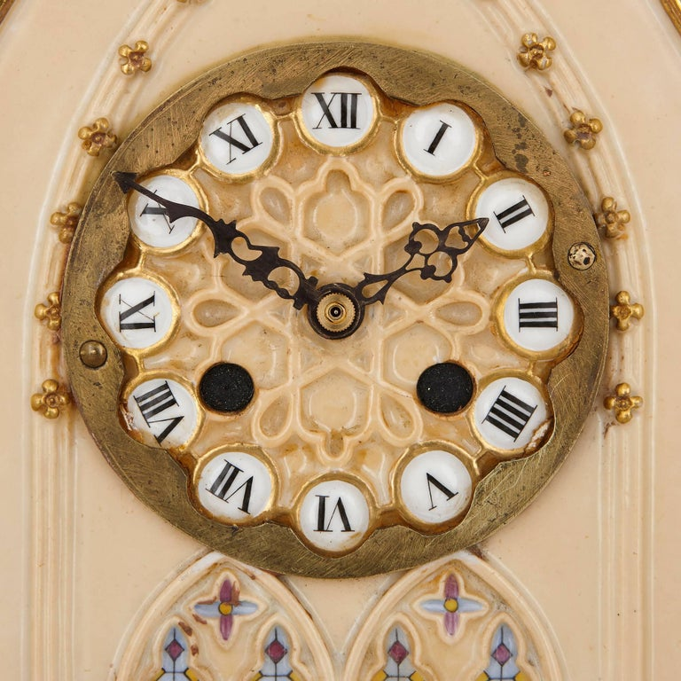 Gothic Revival French Porcelain Mantel Clock by Dagoty and Honore For Sale