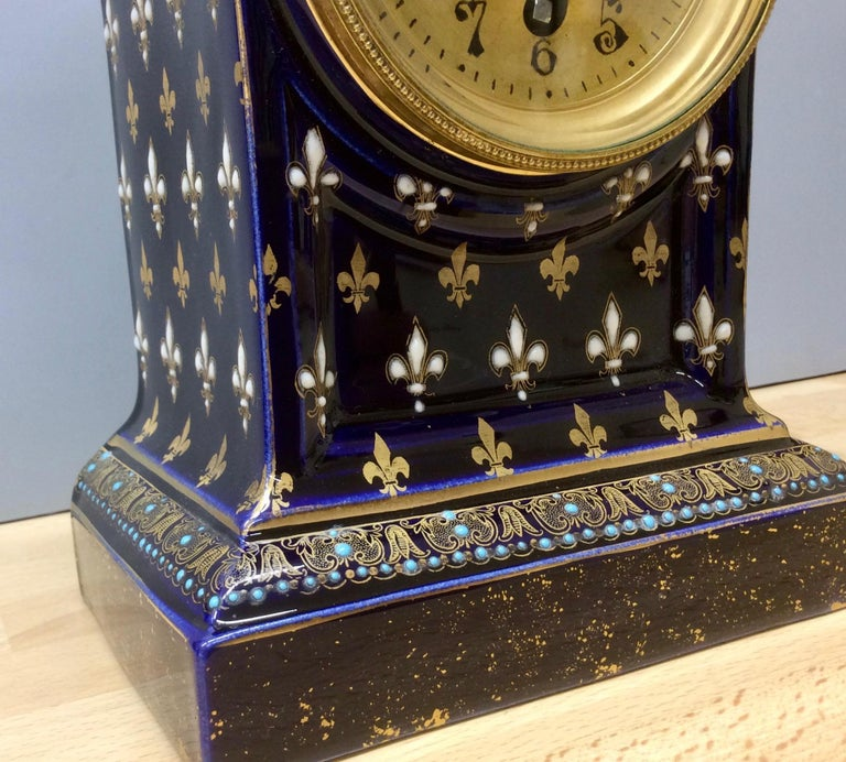 French Porcelain Mantel Clock For Sale 3
