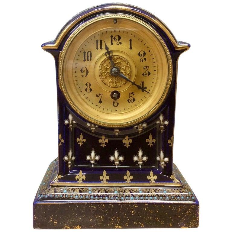 French Porcelain Mantel Clock For Sale