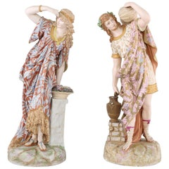 French Gilt Porcelain Pair Decorative Centerpiece Figures