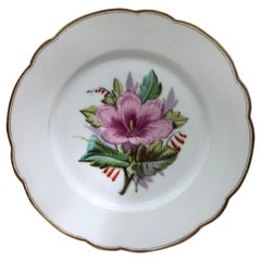 French Porcelain Pink Flower Plate, circa 1850