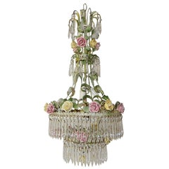 French Porcelain Rose and Crystal Prisms, Four-Tier Chandelier