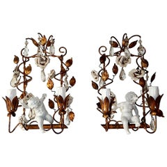 French Porcelain Swinging Cherubs Tole and White Roses with Prisms Sconces