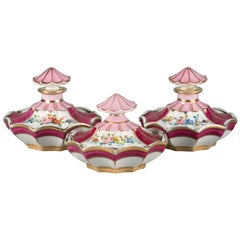 French Porcelain Three-Piece Vanity Set, circa 1900