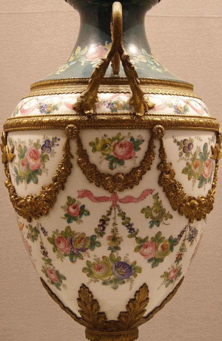Napoleon III French Porcelain Vase with Ormolu Louis XVI Style For Sale