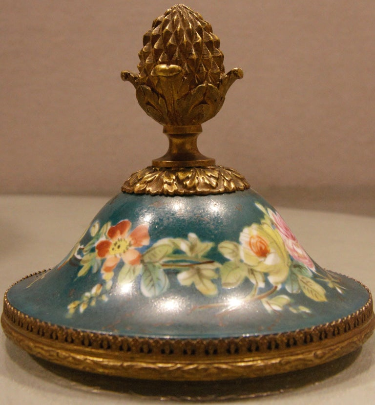 Bronzed French Porcelain Vase with Ormolu Louis XVI Style For Sale
