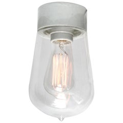 French Porcelain Vintage Industrial Clear Glass Wall Lamp Scones
