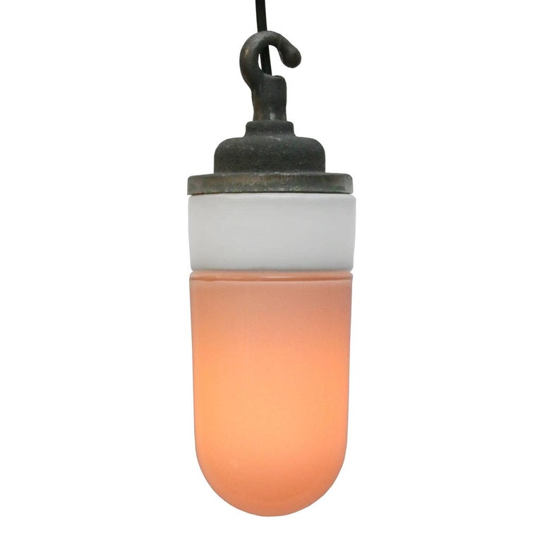 Industrial hanging lamp. White porcelain. Opaline glass. Two conductors. No ground.  Weight: 1.7 kg / 3.7 lb  All lamps have been made suitable by international standards for incandescent light bulbs, energy-efficient and LED bulbs. E26/E27 bulb