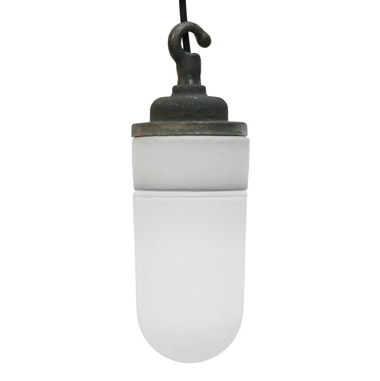 French Porcelain Vintage Industrial Opaline Glass Hanging Lamps