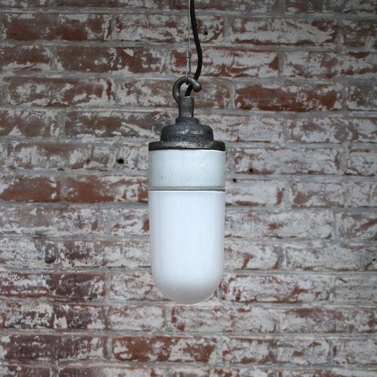 Cast French Porcelain Vintage Industrial Opaline Glass Hanging Lamps
