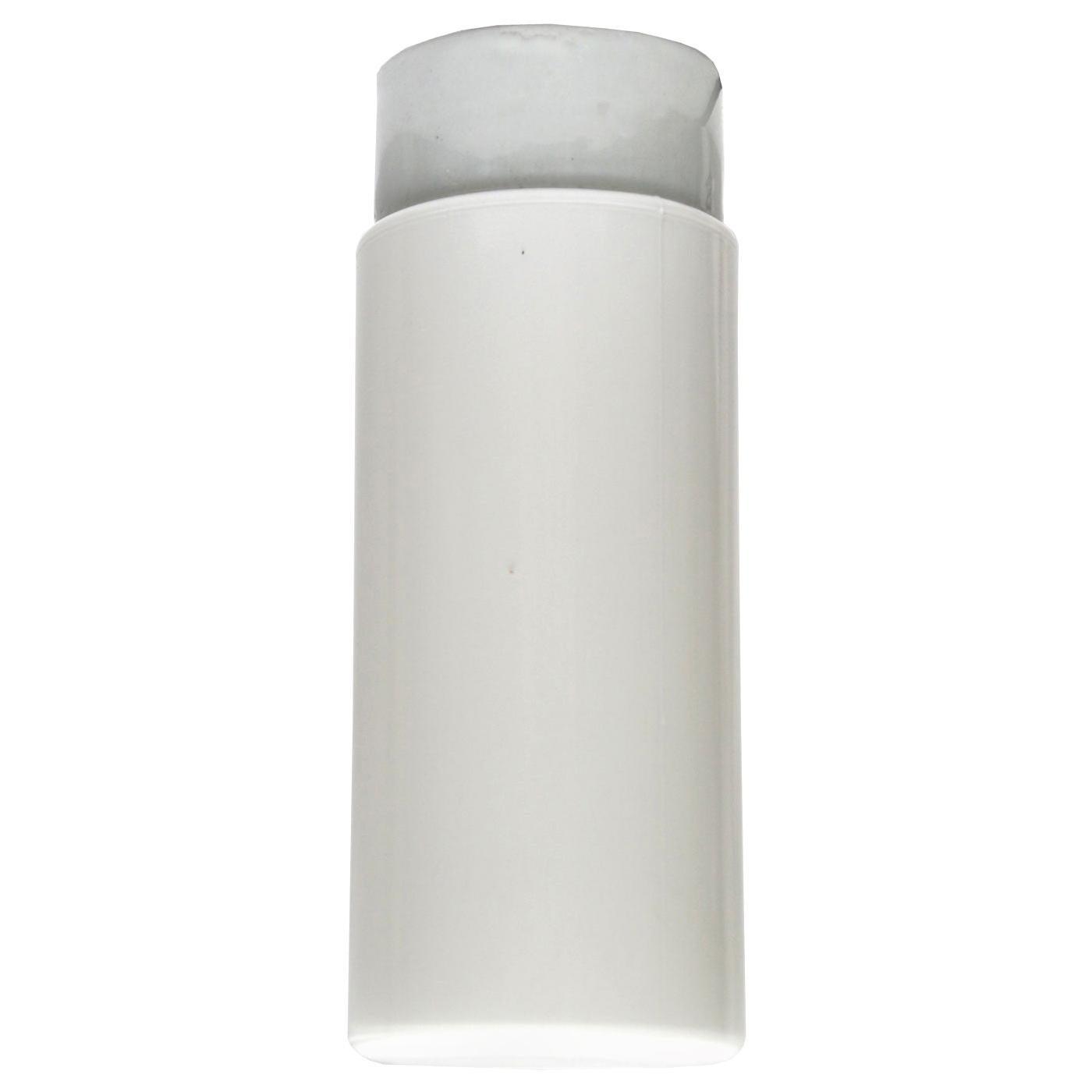 French Porcelain Vintage Industrial Opaline Milk Glass Flushmount Ceiling Lamps