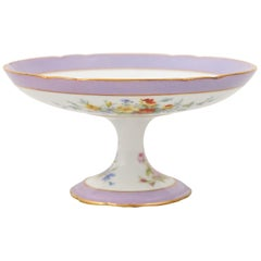 French Porcelaine de Paris Late 19th Century Compote with Floral Décor