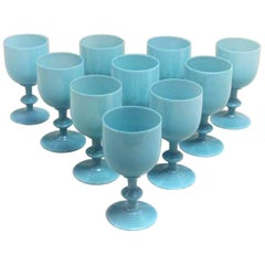 French Portieux Vallerysthal Turquoise Opaline Goblets, Set of Ten, circa 1930