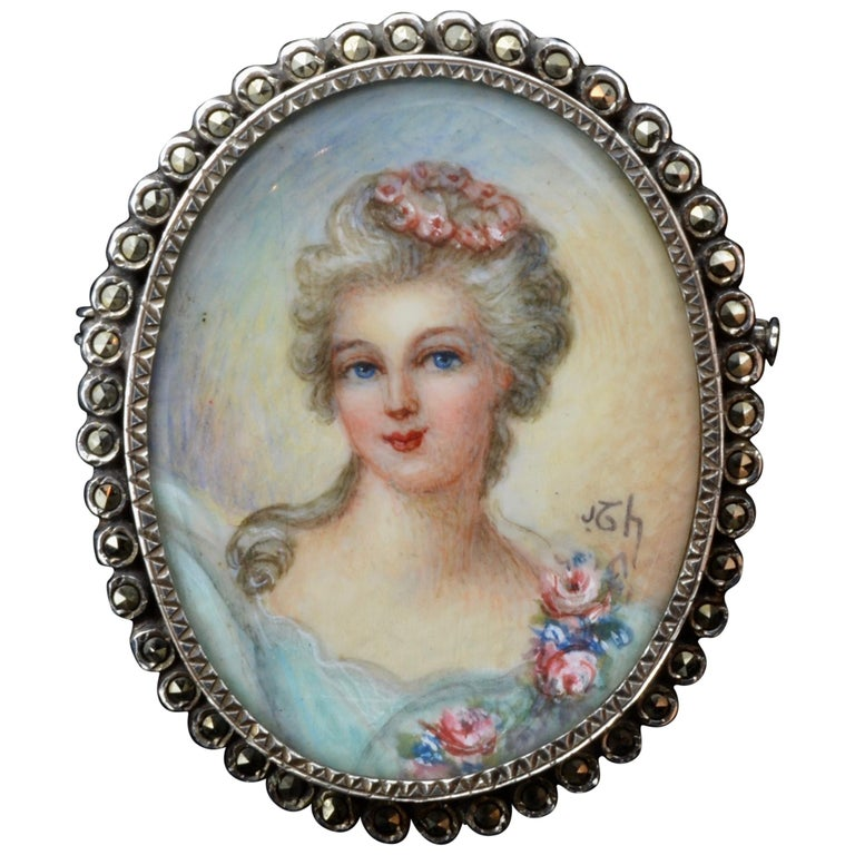 Antique Enamel Hand Painted Brooch-19th Century