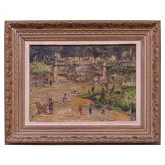 "French Post-Impressionist ""Jardins Des Tuileries"" Oil on Canvas"