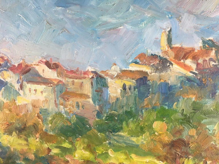 Beautiful original post-impressionist painting on isorel (board) depicting a typical Provençal village. Very vivid colors just like the scenery in the Provence region in spring and summer. The artist Victor Ferrari is a very well-known listed