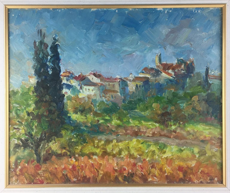 20th Century French Post-Impressionist Landscape Painting by Victor Ferreri For Sale