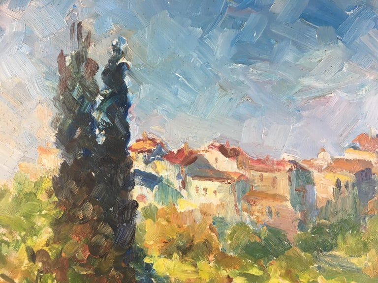 Wood French Post-Impressionist Landscape Painting by Victor Ferreri For Sale