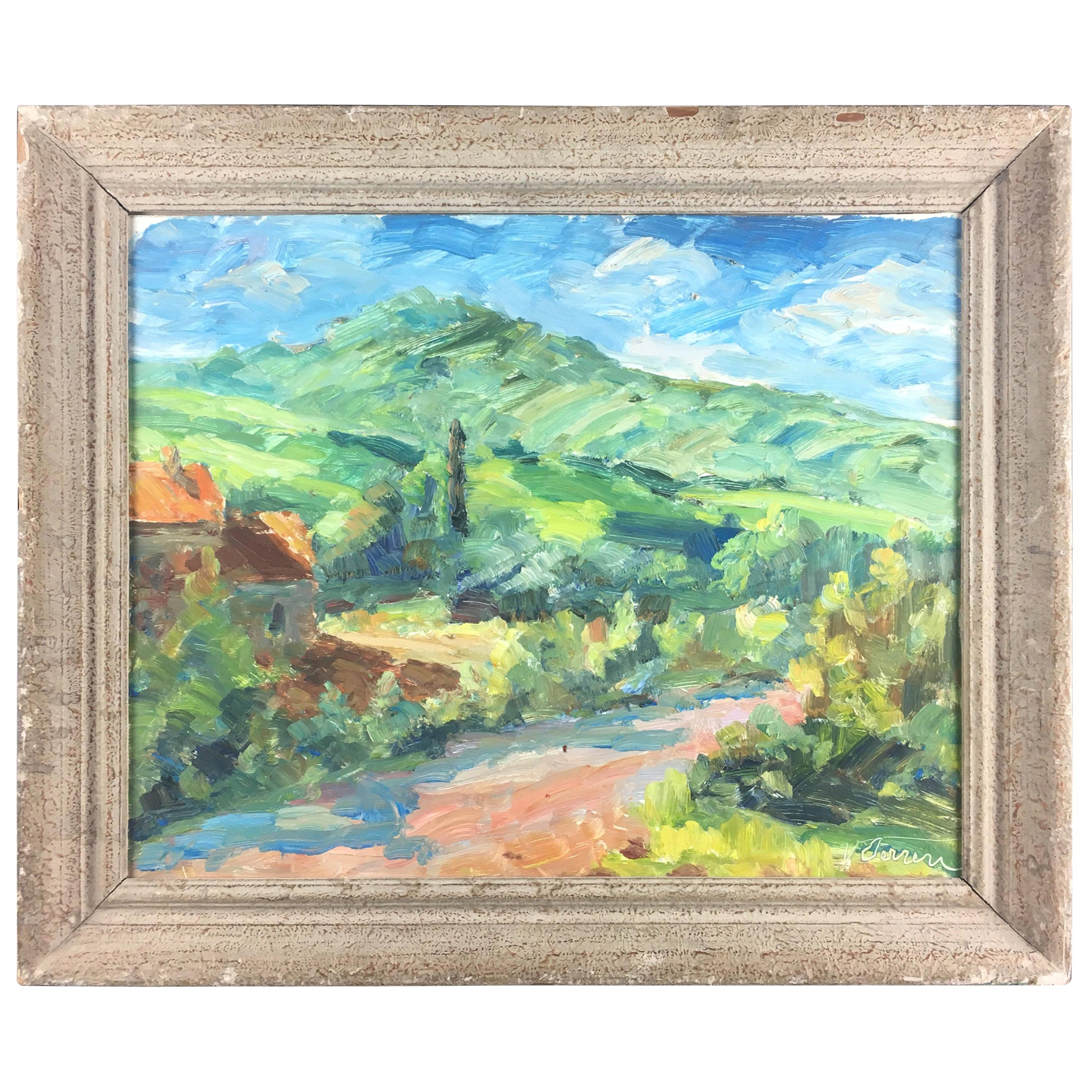 French Post Impressionist Landscape Painting by Victor Ferreri