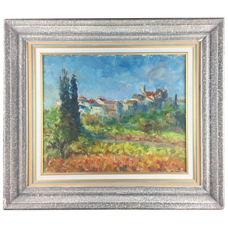 French Post-Impressionist Landscape Painting by Victor Ferreri For Sale