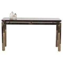 French Post-War Brass and Quartz Console Table
