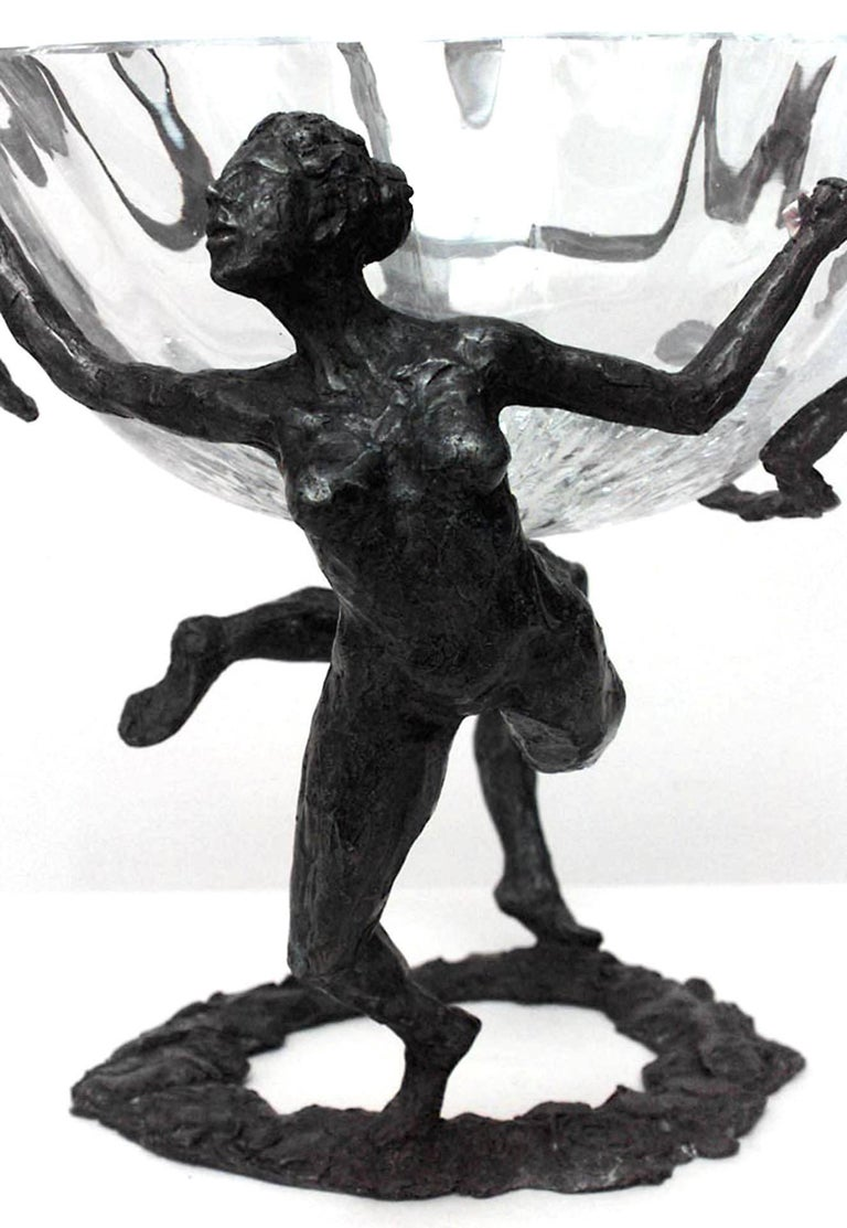 Modern French Post-War Figural Bronze And Glass Centerpiece For Sale